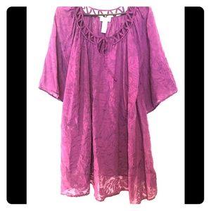 Comfortable plus sized purple gauzey tropical top